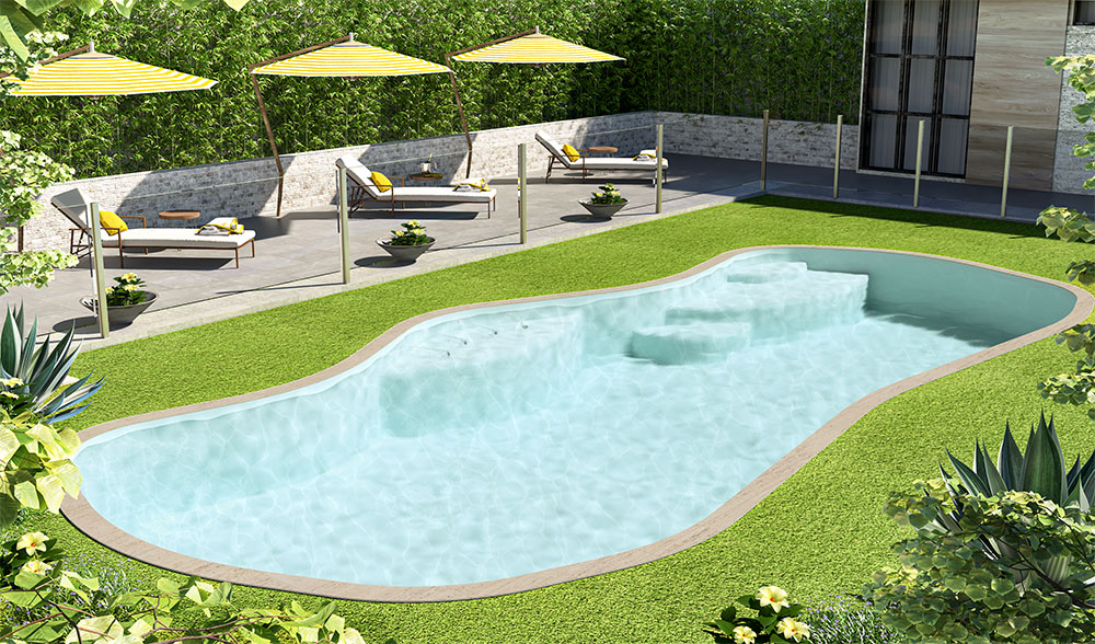 Inground Pool Sydney with green poolside area and benches