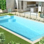 concrete swimming pool with steps and beautiful sitting option