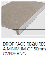 drop face requires a minimum of 50mm overhang